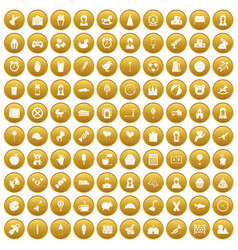100 child center icons set gold vector image