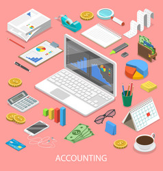Accounting flat isometric concept vector