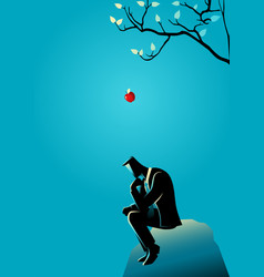 Apple falling dawn to the head of a thinking vector
