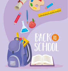 Backpack with erlenmeyer flask and book with vector