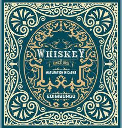 Baroque whiskey label vector