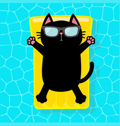 Black cat floating on yellow pool float water vector