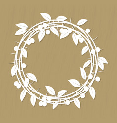 Blackthorn berries branches and leaves frame for vector