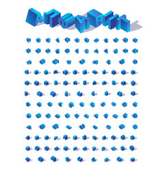 Blue isometric isolated russian cyrillic alphabet vector