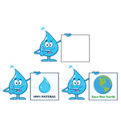 blue water drop characters collection - 7 vector image