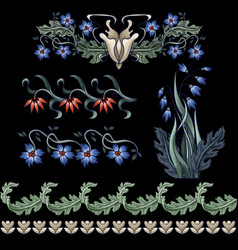 border with flowers in art deco style modern vector image
