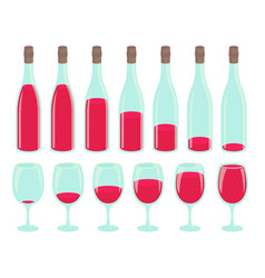Bottle drinking process different amount of vector