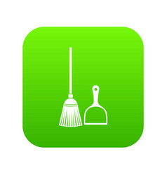 Broom and dustpan icon digital green vector