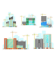 buildings construction site flat icons vector image
