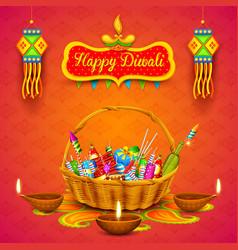 Burning diya and firecracker on happy diwali vector