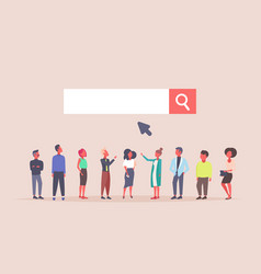 Business people team over web search bar online vector