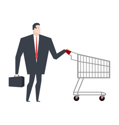 businessman and shopping cart boss is in store vector image