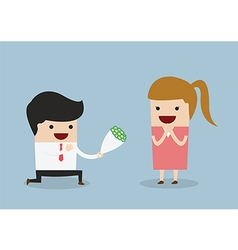 Businessman kneeling down giving flower to woman vector
