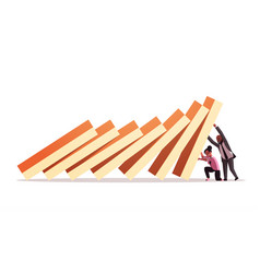 Businesspeople couple stopping domino effect vector