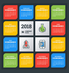 Calendar for 2018 year colorful design template vector