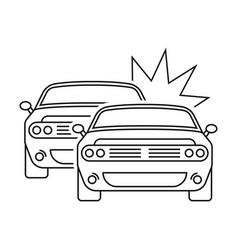 Car crash collision line art icon for apps vector