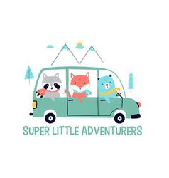 Cars and animals slogan vector