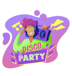 cartoon color disco party flyer concept banner vector image