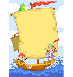 Cartoon Pirate Banner Ship vector