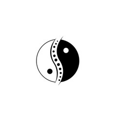 chinese yin and yang chiropractic logo spine vector image