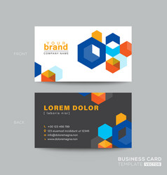 colorful business card design with isometric cube vector image