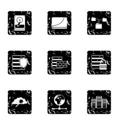 Computer setup icons set grunge style vector