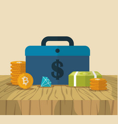 Cryptocurrency and dollar finance icons design vector
