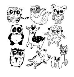 Cute doodle icon set vector
