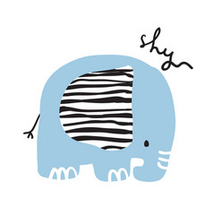 Cute girly hand drawn portrait of an elephant vector