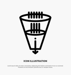 Data filter filtering filtration funnel line icon vector
