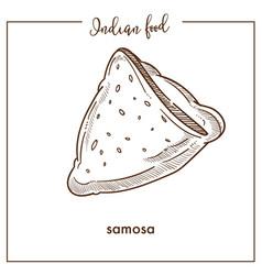 delicious crispy triangular samosa from vector image