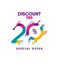 Discount label up to 20 special offer template vector