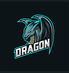 dragon mascot esport logo vector image