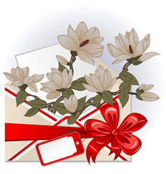 envelope with magnolias vector image