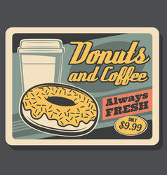 fast food donut and takeaway cup of coffee vector image