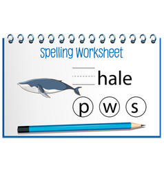 find missing letter with whale vector image