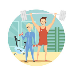 fitness club icon sport cartoon style vector image