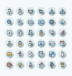 Flat color thin line icons set business vector
