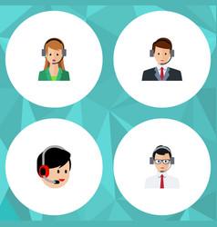flat icon telemarketing set of hotline secretary vector image