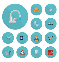 flat icons hoisting machine worker bulb and vector image