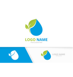 Fresh water drop and leaves logo pure waterdrop vector