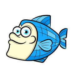 funny fish pattern on white background vector image
