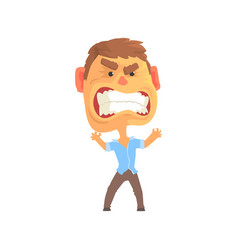 furious man with aggressive facial expressions vector image
