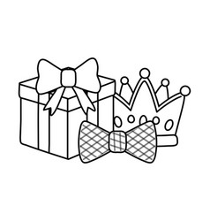 Gift box with crown and bow tie black and white vector