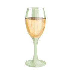 Glass of white wine icon in cartoon style isolated vector image