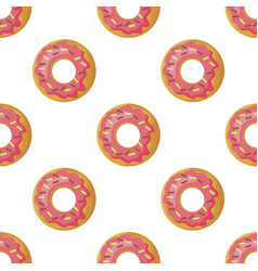 Glazed donuts flat seamless pattern vector