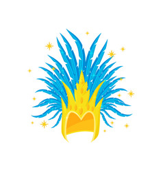 Golden headdress with blue feathers element of vector