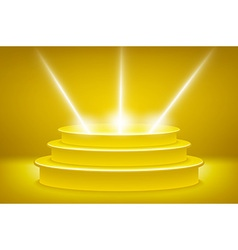 Golden podium in the form of hexagonal vector image