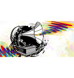 gramophone with grunge vector image
