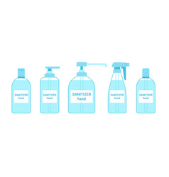 Hand sanitizer bottle set container antiseptic vector